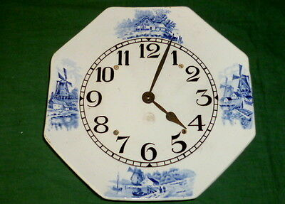 Antique Kitchen Clock Wind Mills windmühlendekor Wall Porcelain Watch Blue