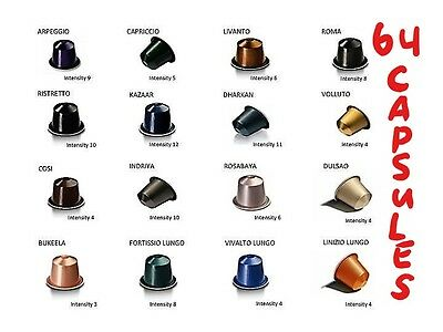 Nespresso Coffee Sampler Pack, 64 x Capsules, 16 Flavors  (Sold Loose)