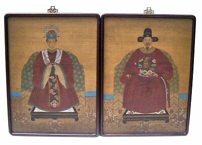 Antique Pair Chinese Ancestral Ancestor Portrait Paintings on Rice Paper 19th C