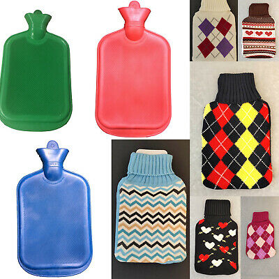 2L Hot Water Bottle Warmer Heat Soft Natural Rubber Bag w Knitted Cover Relaxing