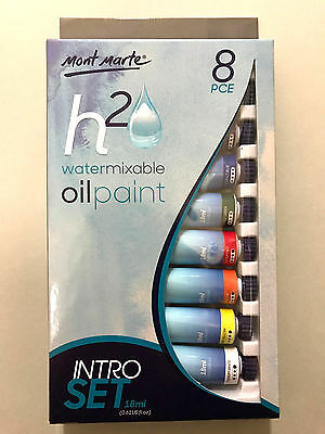 New 8pc x 18ml Mont Marte H2O Water Mixable - Water Soluble Oil Paint Intro Set