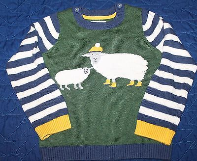 Boys Mini Baby Boden Fall knit sheep sweater striped sleeves 3-4 years