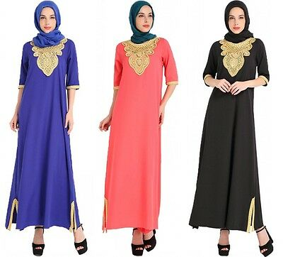 Women Embroidey Dress Muslim Maxi Vintage Abaya Arab Long Sleeve Kaftan Moroccan