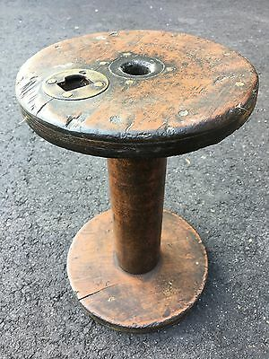 Large Antique Industrial Textile Mill Wooden Thread Rope Spool Reel with Brass