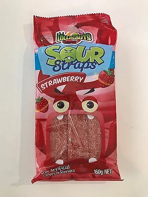 640g x Sour Straps Strawberry Lolly Candy Buffet Sweets Lollies Party Favors