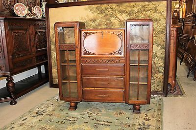Beautiful English Antique Art Deco Oak Side By Side Bookcase / Front Drop Desk.