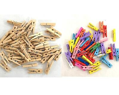New 50pc Mini Wooden Pegs Craft Mini Pegs Clothespin Natural/Coloured Photo Baby