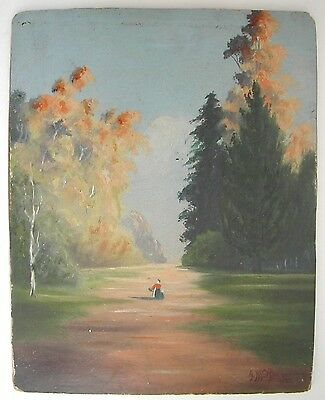 Vintage 1932 Lady & Girl In Field Oil On Board Painting Art Signed A. Mckeown