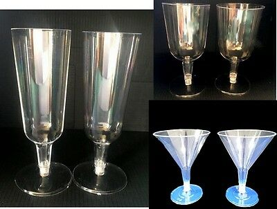 12x Plastic Drinking Glasses Party Clear Disposable Wine Champagne Martini