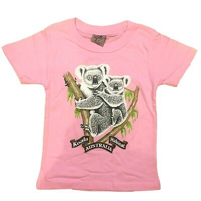 Kids Girls Australian Day Australia Souvenir T Shirt Childrens Top Pink Koalas