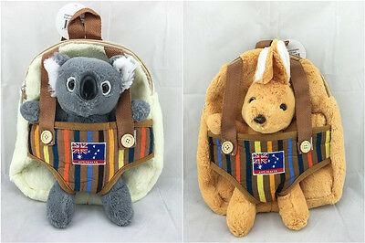 Australian Souvenir Animal Kid Backpack Shoulder Bag W/Soft Toys Pull Out Koala