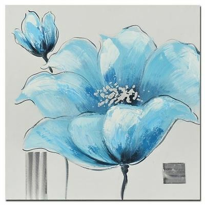 NEW Blue Poppy Hand Painting Stretched Canvas Print Wall Art  Home Decor