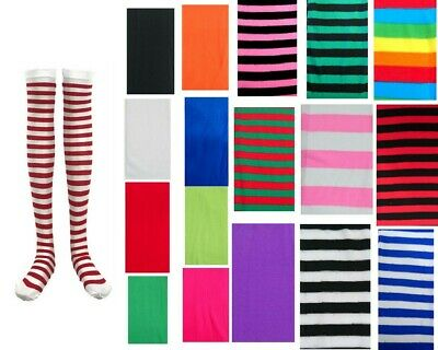 New Women Colorful Stripe Over Knee High Socks Stockings Party Dress 18 Colours
