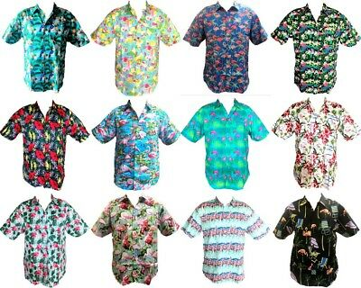 Men's Short Sleeve Casual Shirt Tropical Hawaiian Shirt Beach Top 100% Cotton