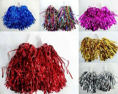 3 Sets/6pcs Metallic Cheerleader Cheerleading Dance Party Dress Pom Poms Pompoms