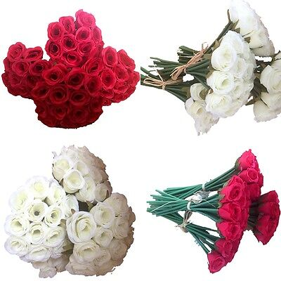 5x 13 Heads Bunch Rose Silk Flowers Artificial Rose Wedding Party Bridal Bouquet