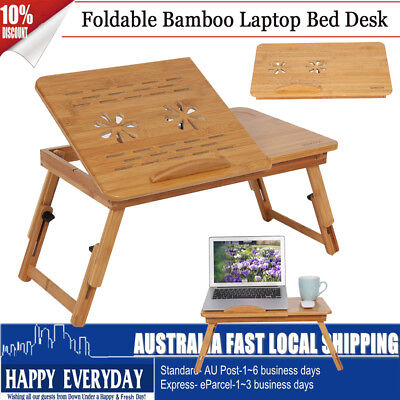 Foldable Laptop Desk Stand Bedside Table PC Computer Book Adjustable Mouse Tray