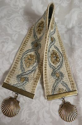 Luxury Vintage French Fabric Bookmark Pebble Beach Clam Shell Natural