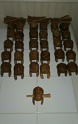 10pc Set Frog Carved Thai Wooden Croaking Instrument Musical Sound Frog  2-3/4""