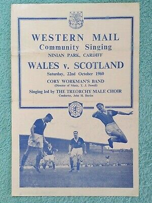 1960 - WALES v SCOTLAND COMMUNITY SINGING SHEET - BRITISH CHAMPIONSHIPS