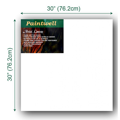 """Artist Thick Stretched Blank Canvas Painting 30""""X30""""/ 76cm x 76cm 380gsm Arts"""