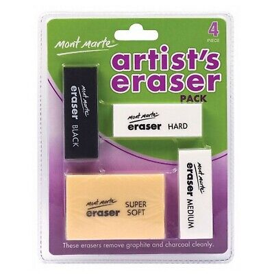 4pc Mont Marte Artists Eraser Pack Crafts Arts Eraser Rubber Art Supply