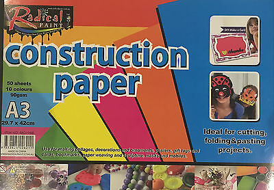 50 Sheets A3 Craft Construction Paper 90gsm Cutting Folding Project 10 Colour