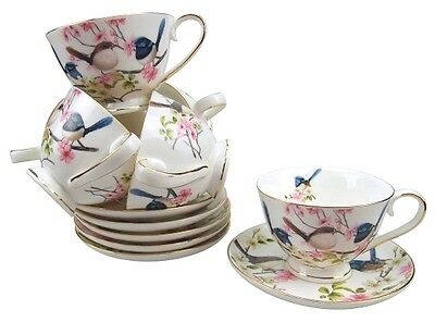 12pc Fine Bone China Blue Wren Short Black Cup Saucer Set Mother's Day Gift