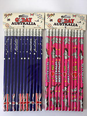 24x Australian Souvenir Pencils Flag Kangaroo Hot Pink Koala Stationary Gift