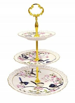 New Fine Bone China Australia Bird Blue Wren 3 Tier Cake Stand Cupcake Stand