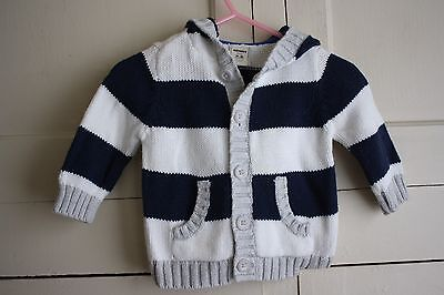 Old Navy Boy's Hooded Button up Blue and White Striped Knit Sweater 3-6 Months