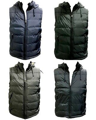 NEW Adults Men's Vest Puffy Warm Sports Casual Mens Winter Quilted Hooded Vest