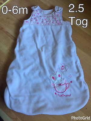 Baby Girls 0-6 Months Mouse Pink Sleeping Bag - 2.5 Tog - Great Condition