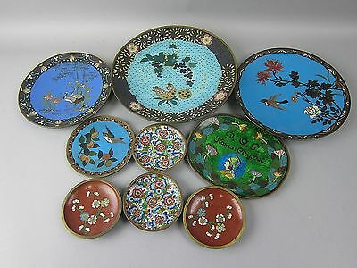 Lot of 9 Antique Chinese/Japanese Cloisonne Plates and Coasters