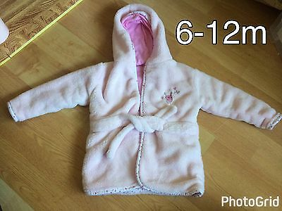 Baby Girls Pink Soft Fluffy Hooded Dressing Gown/Robe - 6-12 Months - Great Cond