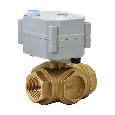 DC24V Motorized Ball Valve L/T Type Electrical Valve 3/8''-1'',3 Way,CR2-01