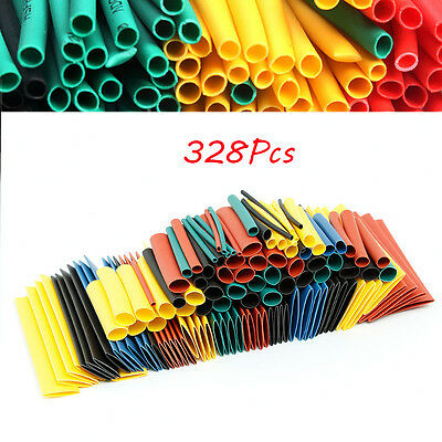 328pc Heat Shrink Wire Wrap Assortment Tubing Electrical Connection Cable Sleeve
