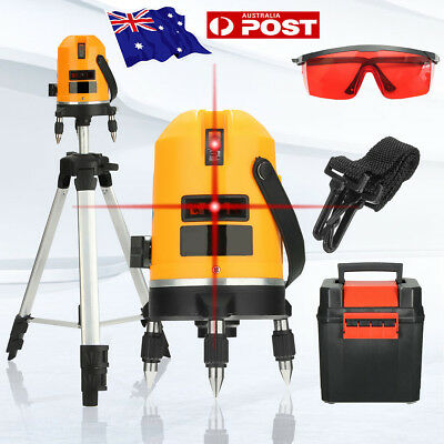 Auto Self Leveling Rotary 4V1H 5 Cross Line 6 Point Laser Level Measure + Tripod