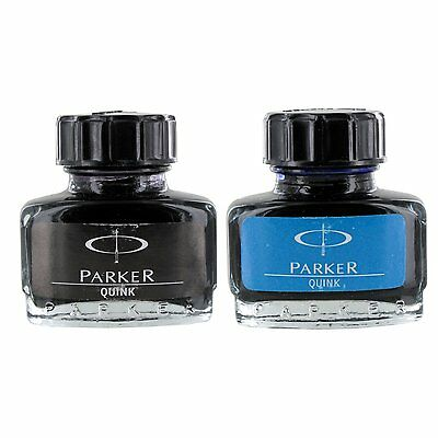 Parker Quink Fountain Pen Ink Bottle, 30ml, Blue & Black Ink, Set of 2