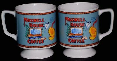 Maxwell House Collectible 2 Pc Ceramic Tea Coffee Cups Set Good to the Last Drop