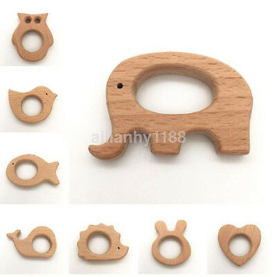 Cute Safe Natural Wooden Animal Shape Ring Baby Teether Teething bite Toy Hot AU