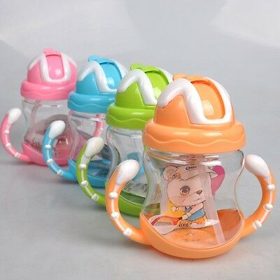 Baby Drinking Water Straw Bottle Kids Feeding Sippy Suction Cup With Handles UK