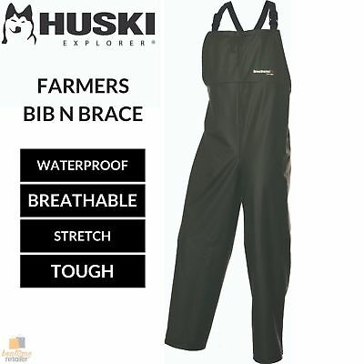 HUSKI OVERALLS Farmers Bib N Brace Waterproof Stretch Windproof Work 918097