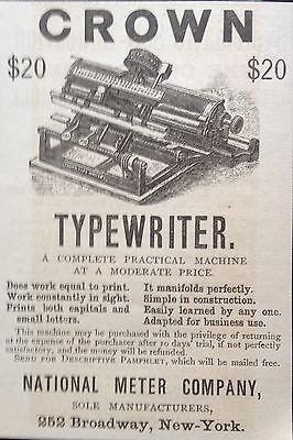 Antique 1888 Ad (1800-14)~National Meter Co. Broadway, Ny. Crown Typewriter