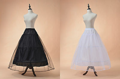 White Black Petticoat/Slips Wedding Ball Gown Prom Crinoline Underskirts 2 Hoop