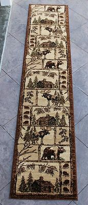Rustic Lodge Log Cabin Decor Bear Elk 3 X 8 Runner Rug