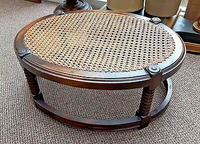 Antique Mahogany Bobbin Turned Supports & Cane Topped Footstool.