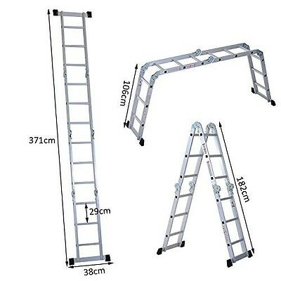Folding Aluminium Ladder Platform Work Bench Multi Purpose Step Up Fire Scaffold