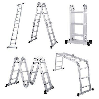 Folding Aluminium Ladder Platform Work Bench Multi Purpose Fire Scaffold Step Up