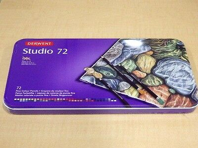 New Set of 72 Colouring Pencils by DERWENT STUDIO 72 with presentation case U.K